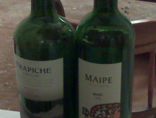 Among his favs are the Trapiche and Maipe malbecs