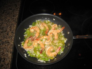 shrimp, onions and peppers